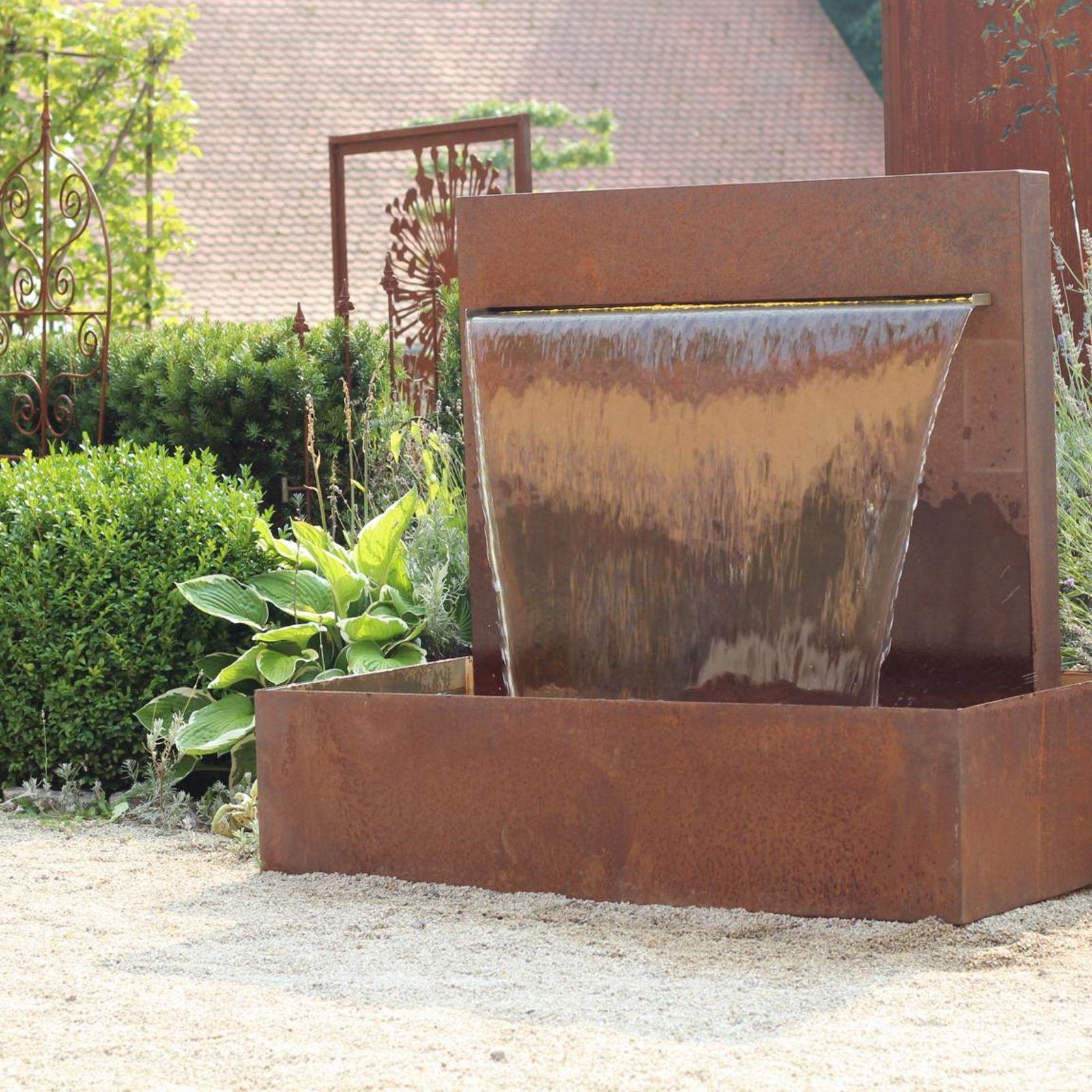 Stahlbrunnen Cortenstahl Wasser Im Garten Gartenbrunnen