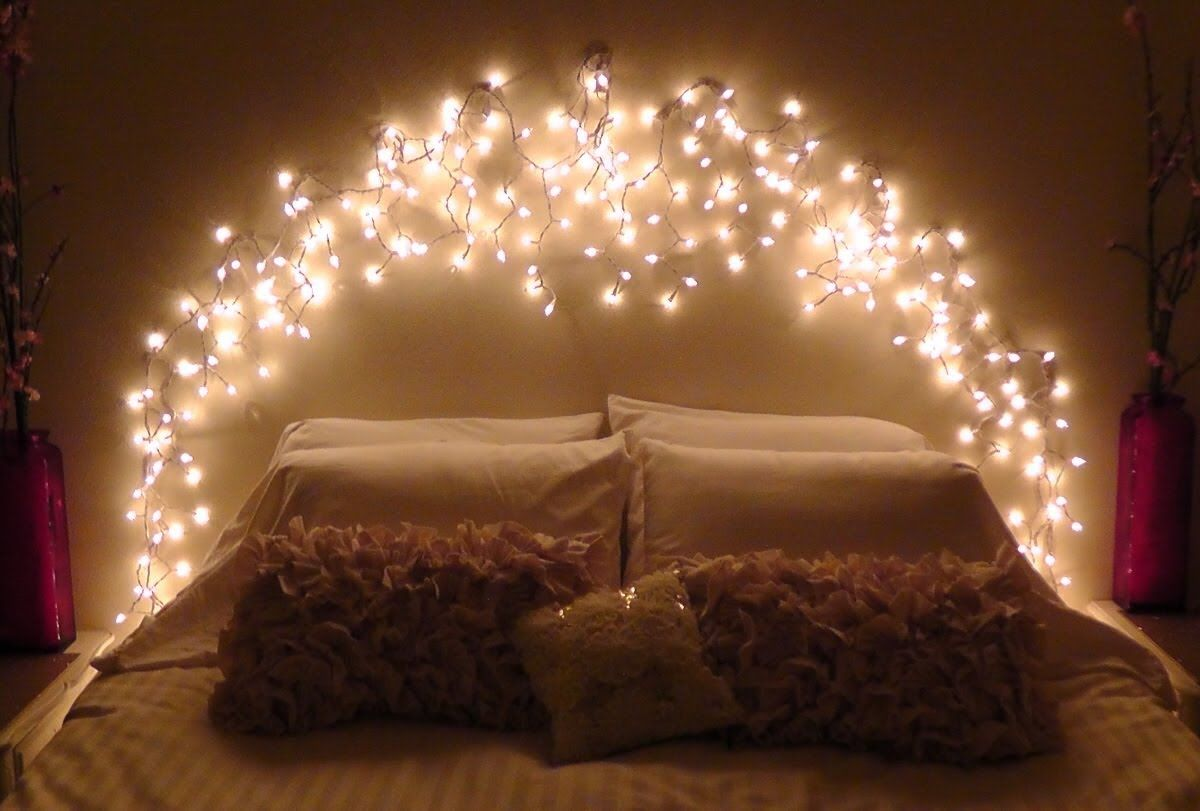 How-To Make your own icicle light faux headboard. This project is super easy  way to create a soft twinkling glow in your room. Using Command damage-free  ...
