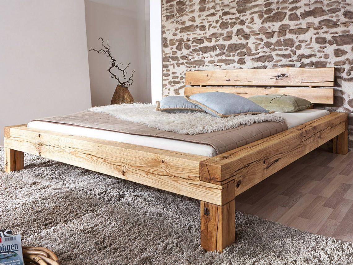 Lias Massivholzbett Wildeiche Geölt 140 X 200 Cm Holzbalken Bett Bett Selber Bauen Bett Bauen