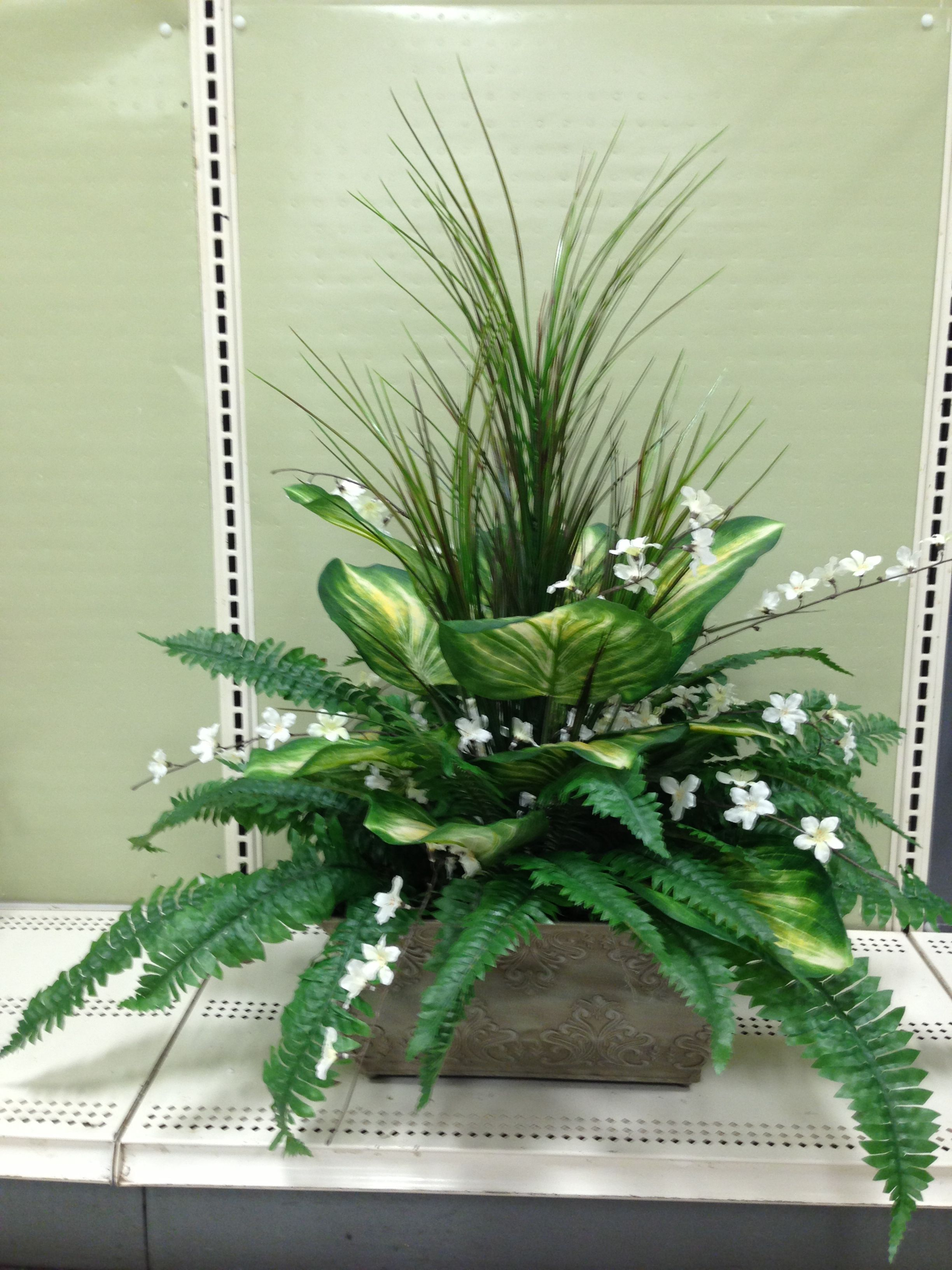 Greenery Arrangement Made By Suzanne At Michaels Whitehall Pa Spring Arrangements And Wreaths