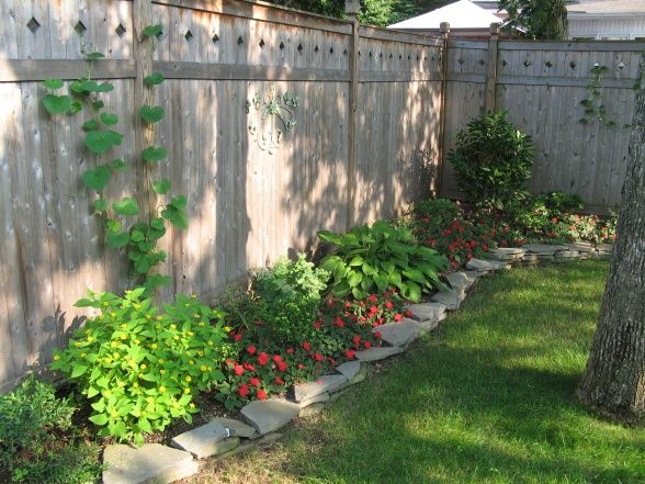 Backyard landscaping fence line border getting for Big back garden designs