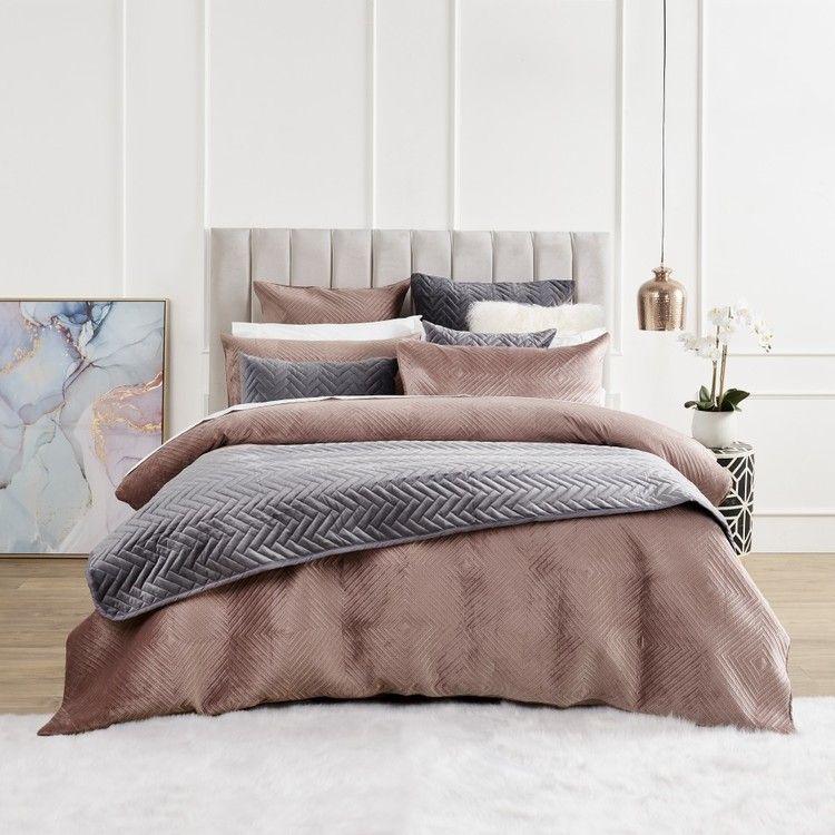 Koo Tali Velvet Quilted Quilt Cover Set Pink Quilt Cover Sets Quilt Cover Single Size Bed