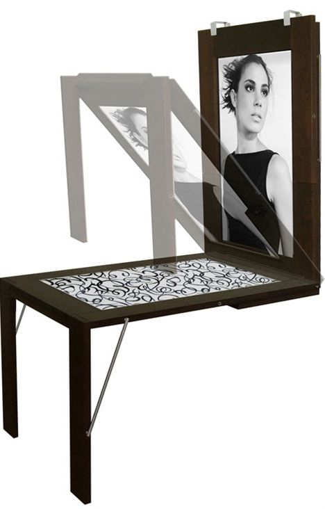 Frame that turns into a table Wall mounted table Wall mount and