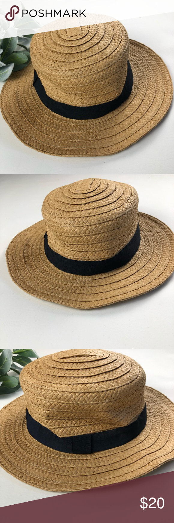 2ff1f1a88582a HINGE Nordstrom Straw Boater Hat One Size Brand new with tags Hinge  Nordstrom straw boater hat