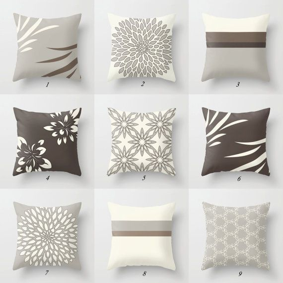 Brown Gray Throw Pillow Covers White Brown Pillow Case Neutral Pillows Cushion Covers Floral Geometric Modern Mix Match Pillows For Sofa Beige Pillows Brown Living Room Decor White Throw Pillow Covers