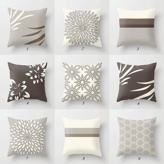 brown gray throw pillow covers dark