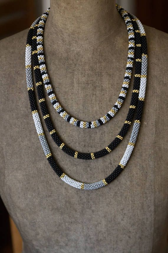 Photo of Reserved for Jill – Black Gold Layering Necklace, Three-Tier Beadwork Necklace MADE TO ORDER