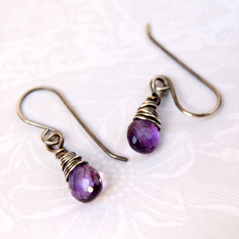 Silver Wire Wrap Earrings - See more stunning jewelry at StellarPieces.com!