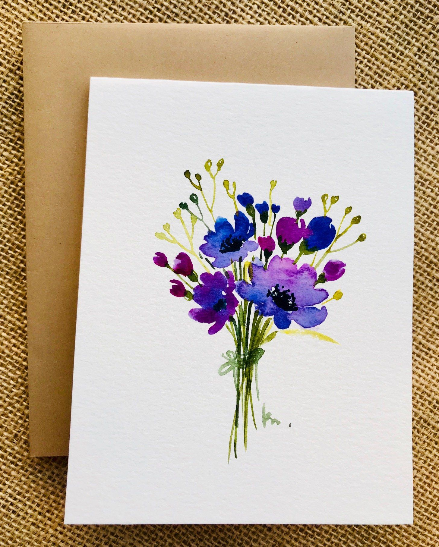 Birthday Card Painting : birthday, painting, Painted, Greeting, Cards, Flowers, Watercolor, Cards,, Flower, Painting