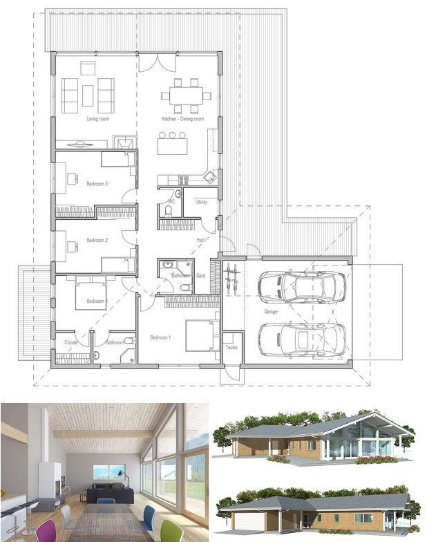 Modern small house plan with spacious living room and three bedrooms. Two car garage. Floor Plan from ConceptHome.com