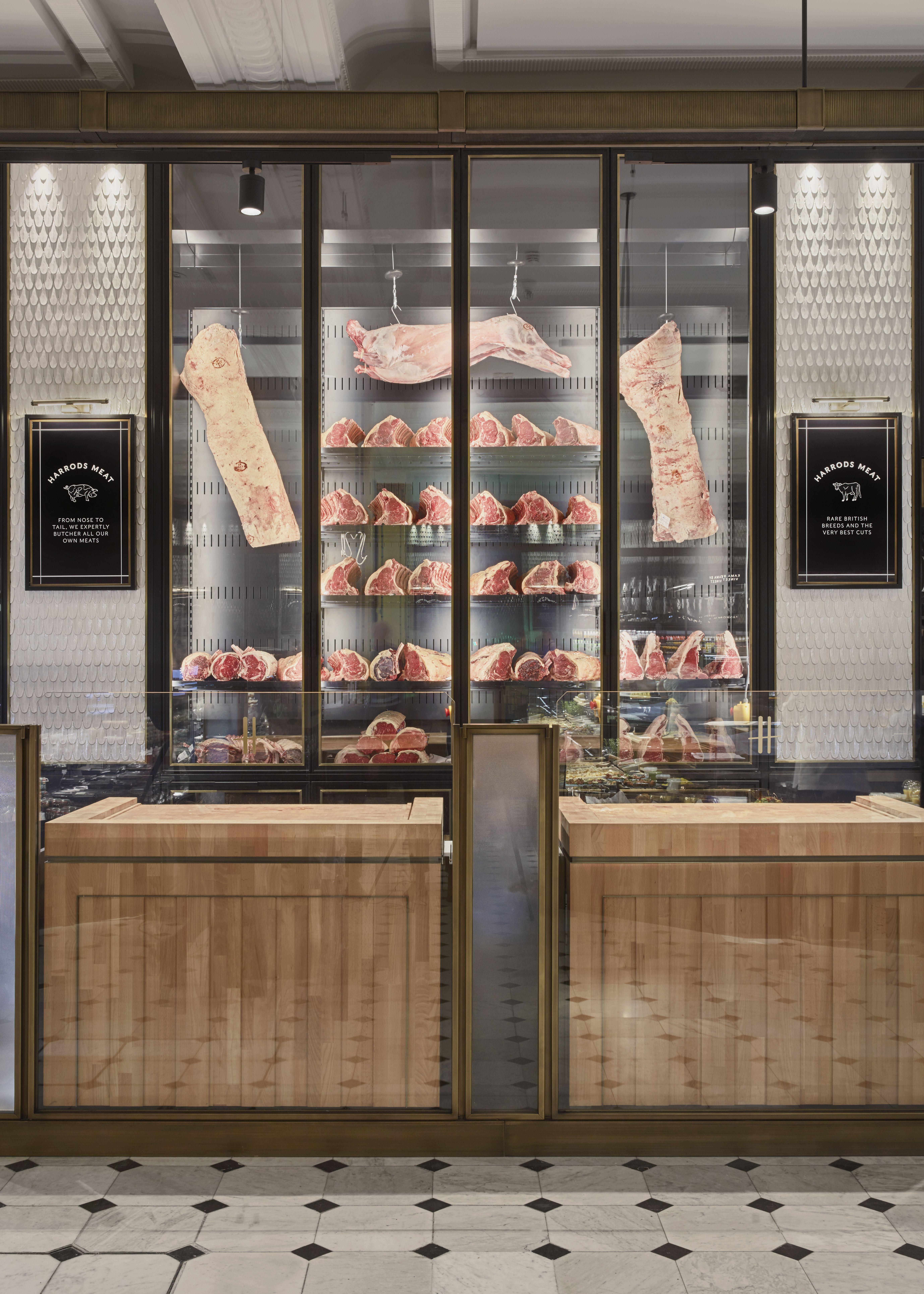 Harrods Fresh Market Hall David Collins Studio Fresh Market Butcher Shop Meat Store