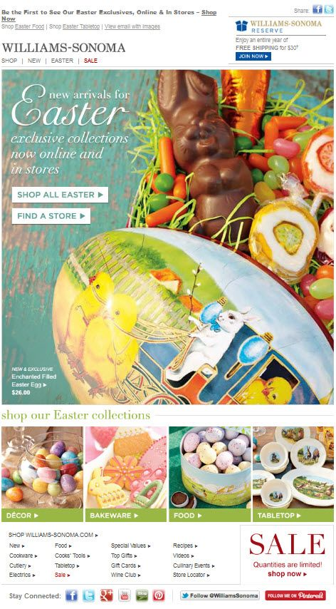 easter email from williams-sonoma.   - - > email design ...