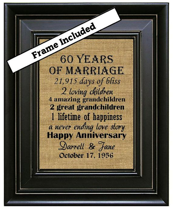 Ideas For 60th Wedding Anniversary Gifts For Parents: FRAMED 60th Wedding Anniversary/60th Anniversary Gifts