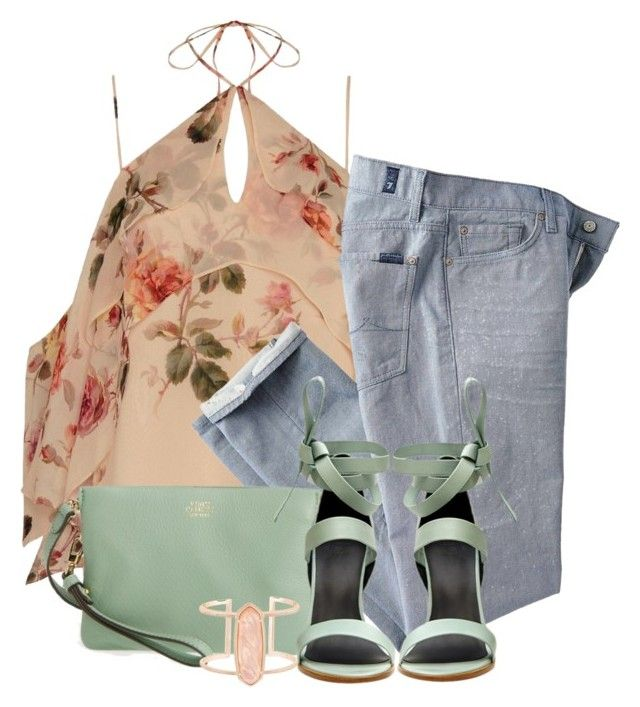 """""""Denim & Floral"""" by lbite ❤ liked on Polyvore featuring Exclusive for Intermix, 7 For All Mankind, Vince Camuto, TIBI and Kendra Scott"""