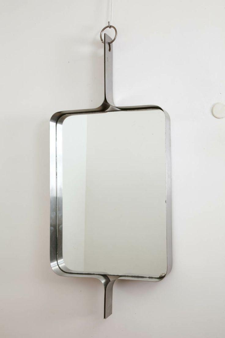 Rectangular Steel Mirror By Michel Boyer, Circa 1970.