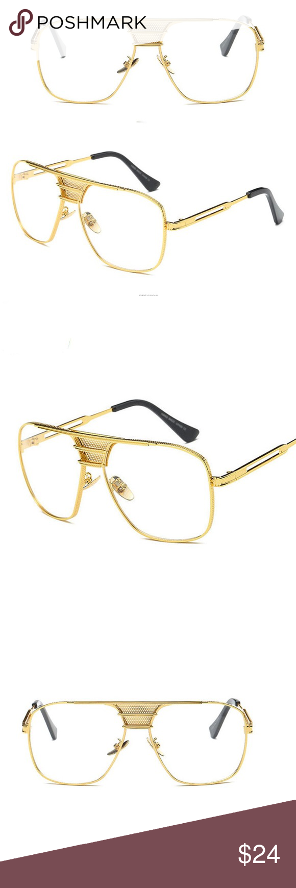 34309a0a897a Men s Oval Clear Gold Frame Glasses Men s Oval Clear Gold Frame Glasses  Metal  alloy Clear Lens Gold Frame. Tsv Jewelers Accessories Hats