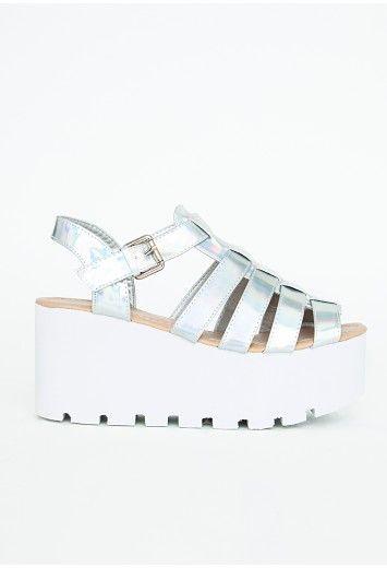 fc2394c24c3 Mipita Holographic Flatforms - Footwear - Flatforms - Missguided ...
