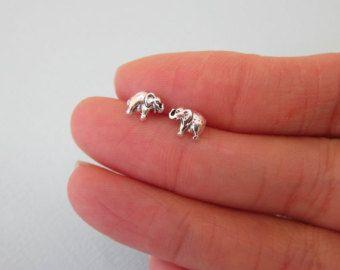 Tiny Sterling Silve Baby elephant Stud Earrings, Children Earrings, Baby Earrings, Good Luck Jewelry, Cute Earrings,  Cartilage Earring
