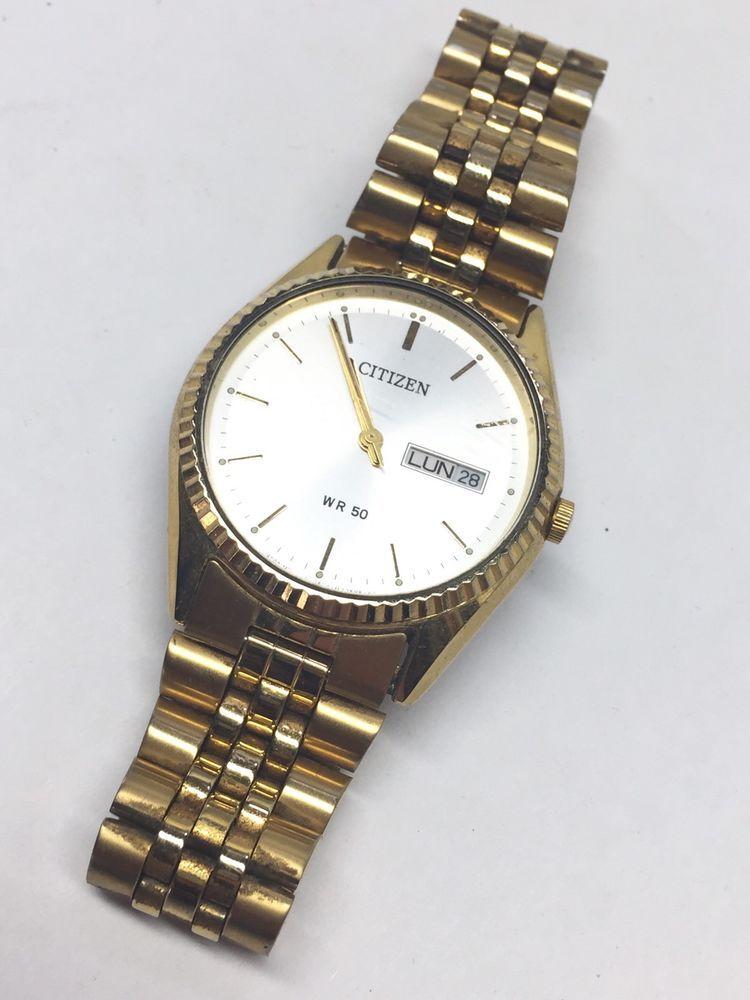 Vintage Wrist Watch Citizen Wr 50 Quartz Movement Gold