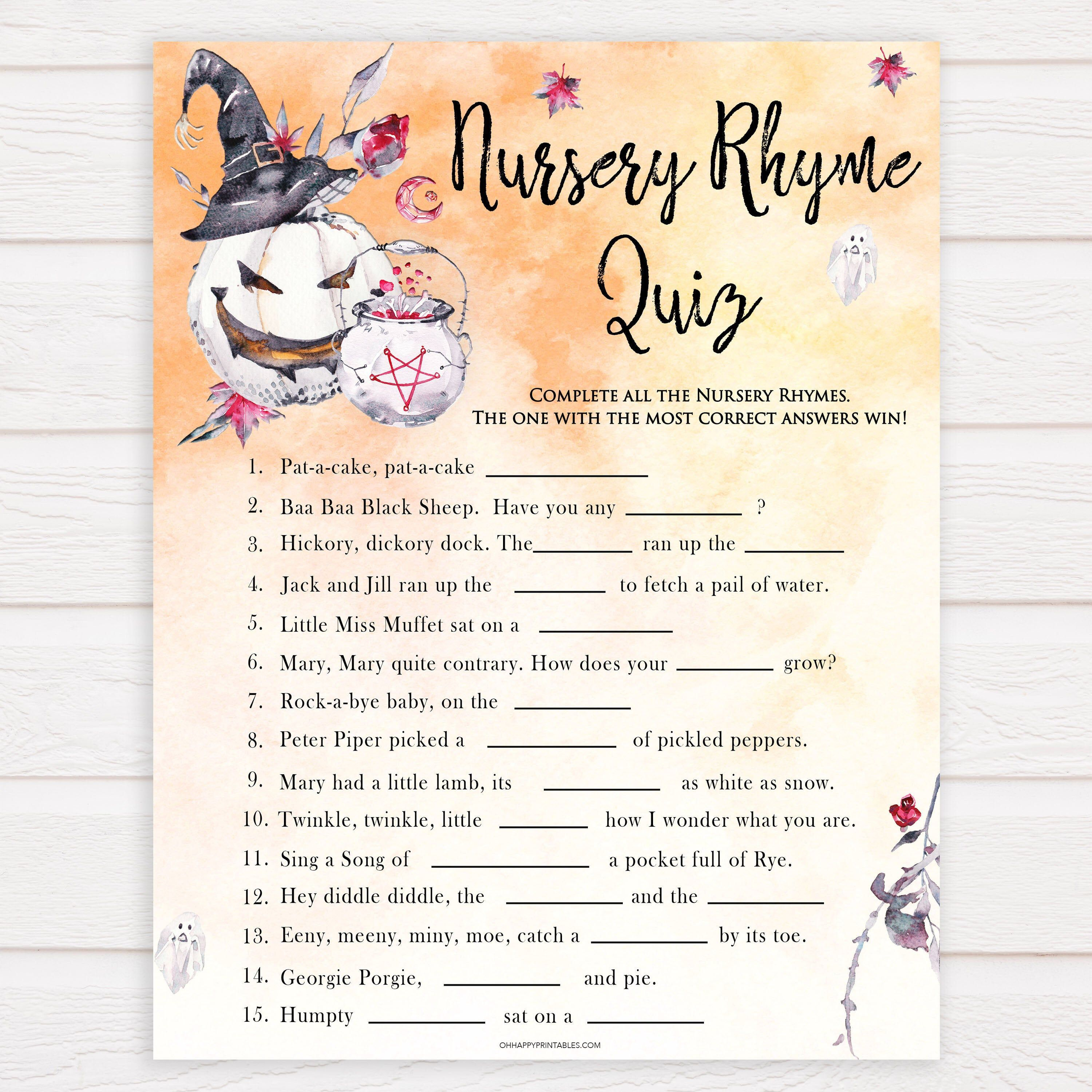 Halloween Nursery Rhyme Quiz Baby Shower Games Guess