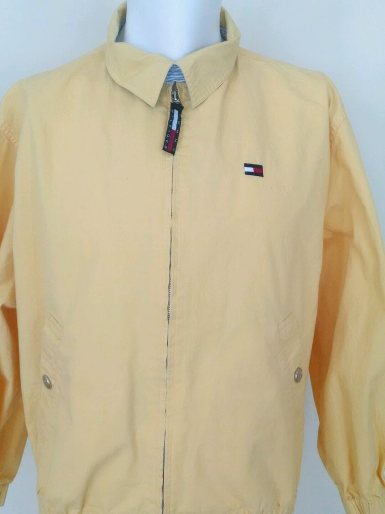 Vintage Tommy Hilfiger Men's Yellow Windbreaker Golf Sailing Jacket Cotton XL  #TommyHilfiger #Windbreaker