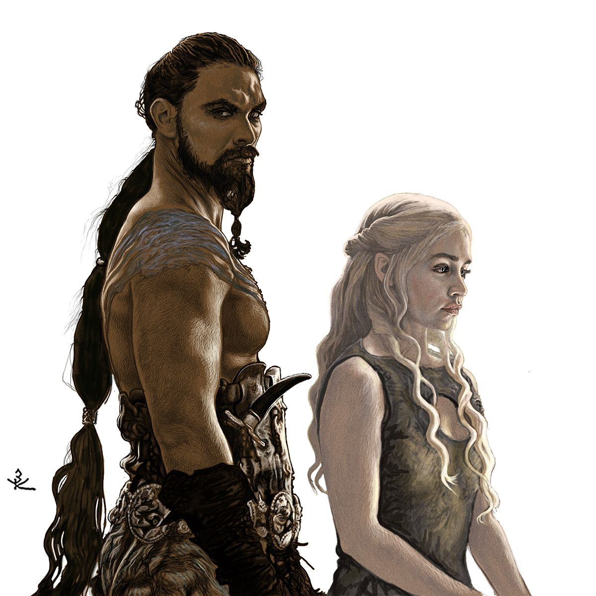 Jason Momoa Game Of Thrones: Khal Drogo And Danaerys Targaryen By Zinaida Korotkova