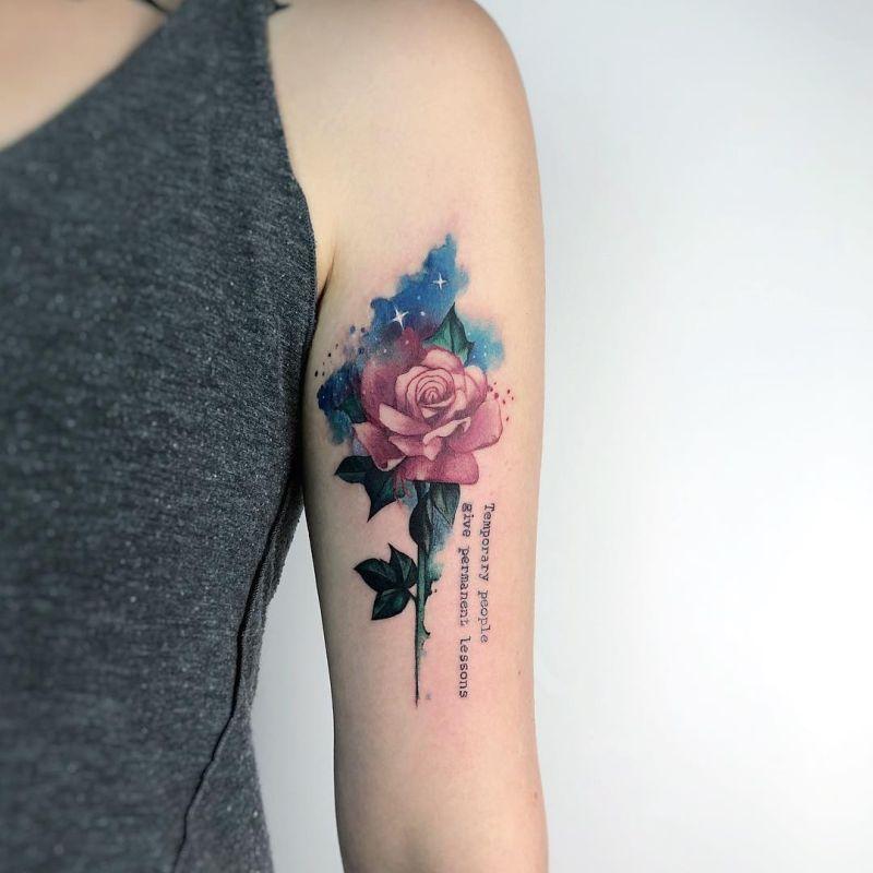 Galaxy Rose Tattoo Rose Tattoos For Women Rose Tattoo Design Rose Tattoos