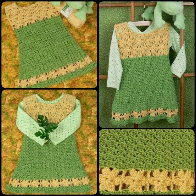 20+ Crochet Girl Dress with Free Pattern   Combinación de colores ...