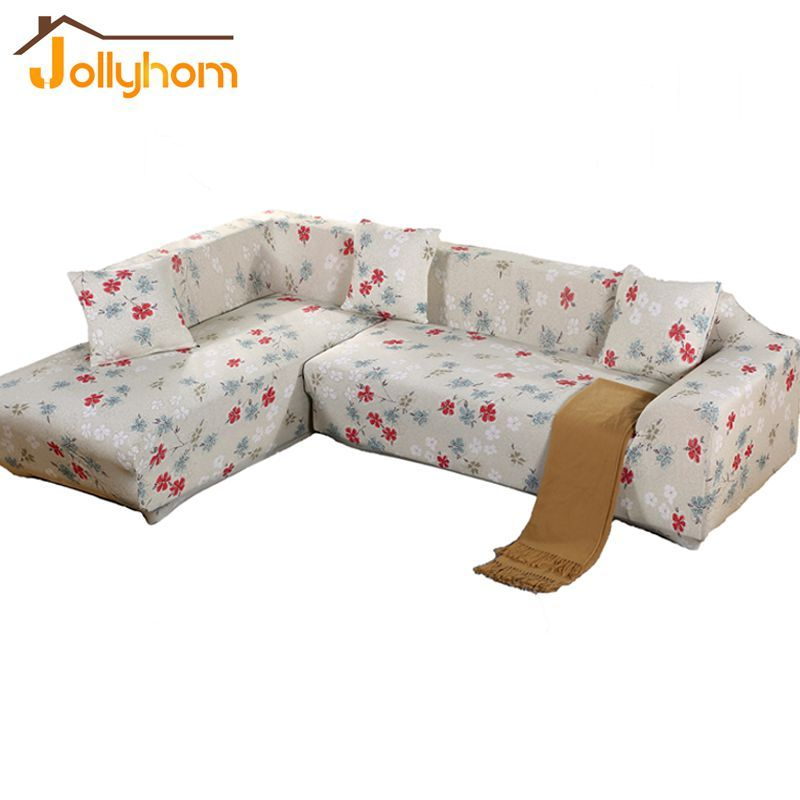 2016 HOT Sale Flower Printing Style Sofa Cover L Shaped Elasticity Flexible  Slipcover Sitting Room