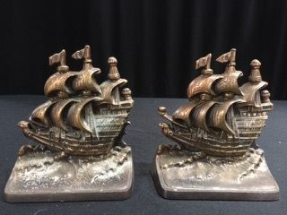 GREAT PAIR OF SAILING VESSEL NAUTICAL BOOKENDS MEASURING 6X5 INCHES