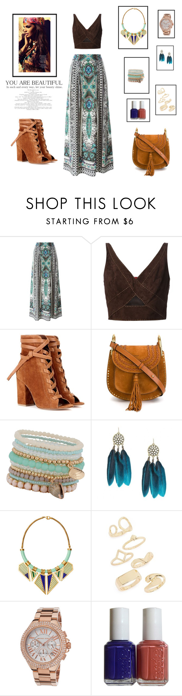 """The walk of the gypsy"" by cori-felton ❤ liked on Polyvore featuring Etro, Tamara Mellon, Gianvito Rossi, Chloé, ALDO, A Peace Treaty, Topshop, Michael Kors and Essie"