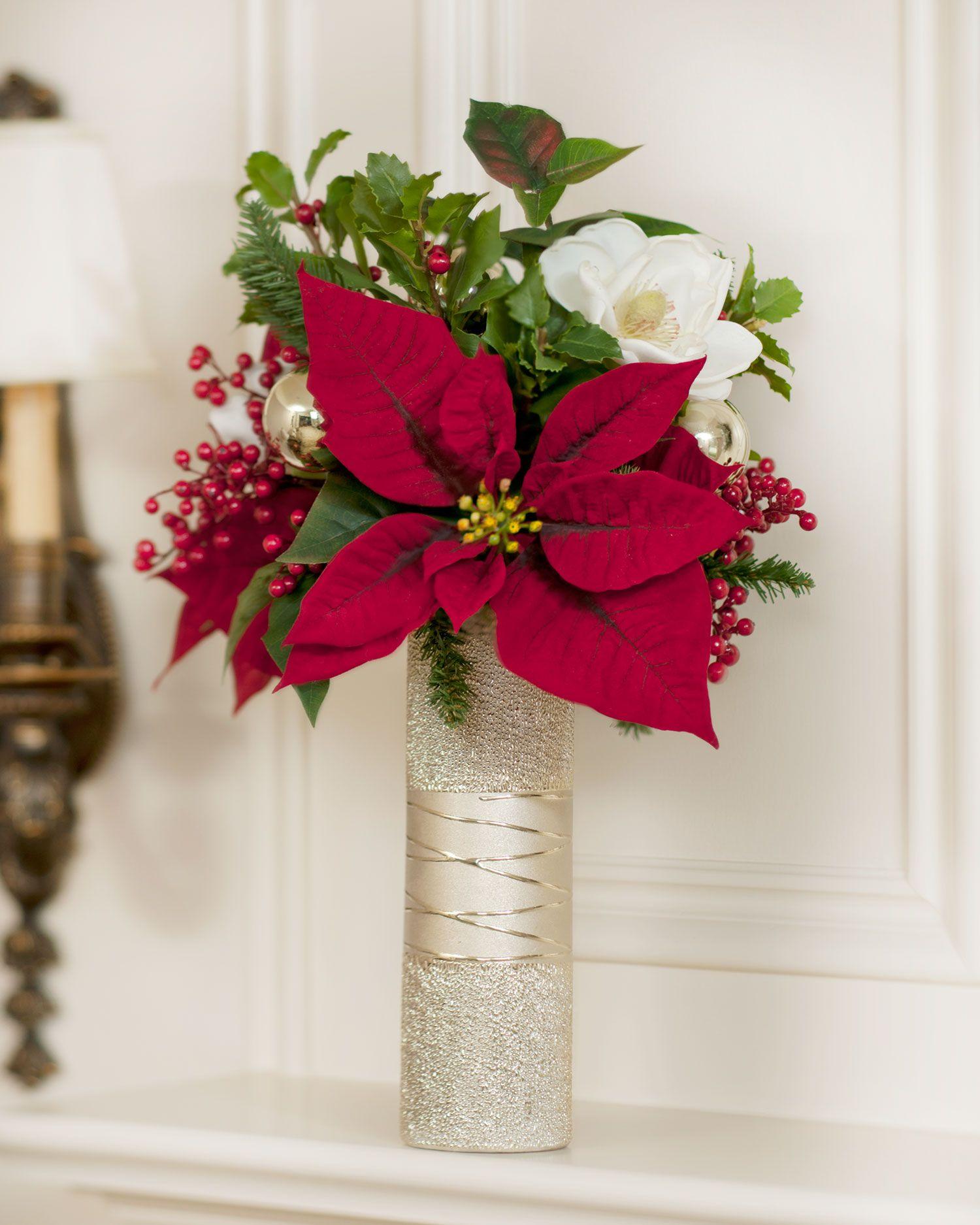 Poinsettia Magnolia Silk Flower Vase Christmas Flowers Christmas Floral Christmas Flower Arrangements