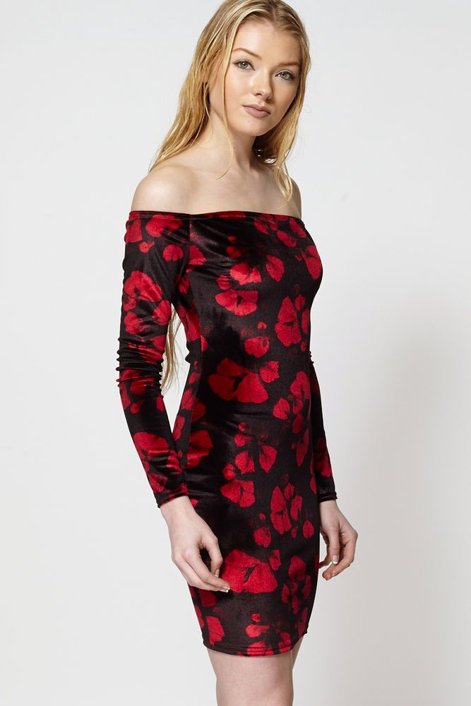 New Women/'s Floral Frill Sleeve Dress Ladies Day Evening Casual Dress Size 8-14