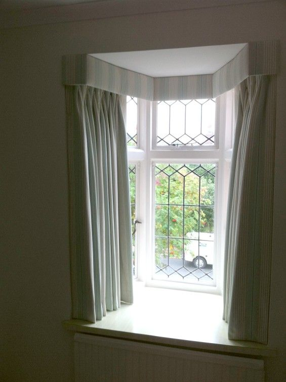 Upholstered Pelmet In A Small Side Bay Window With Triple