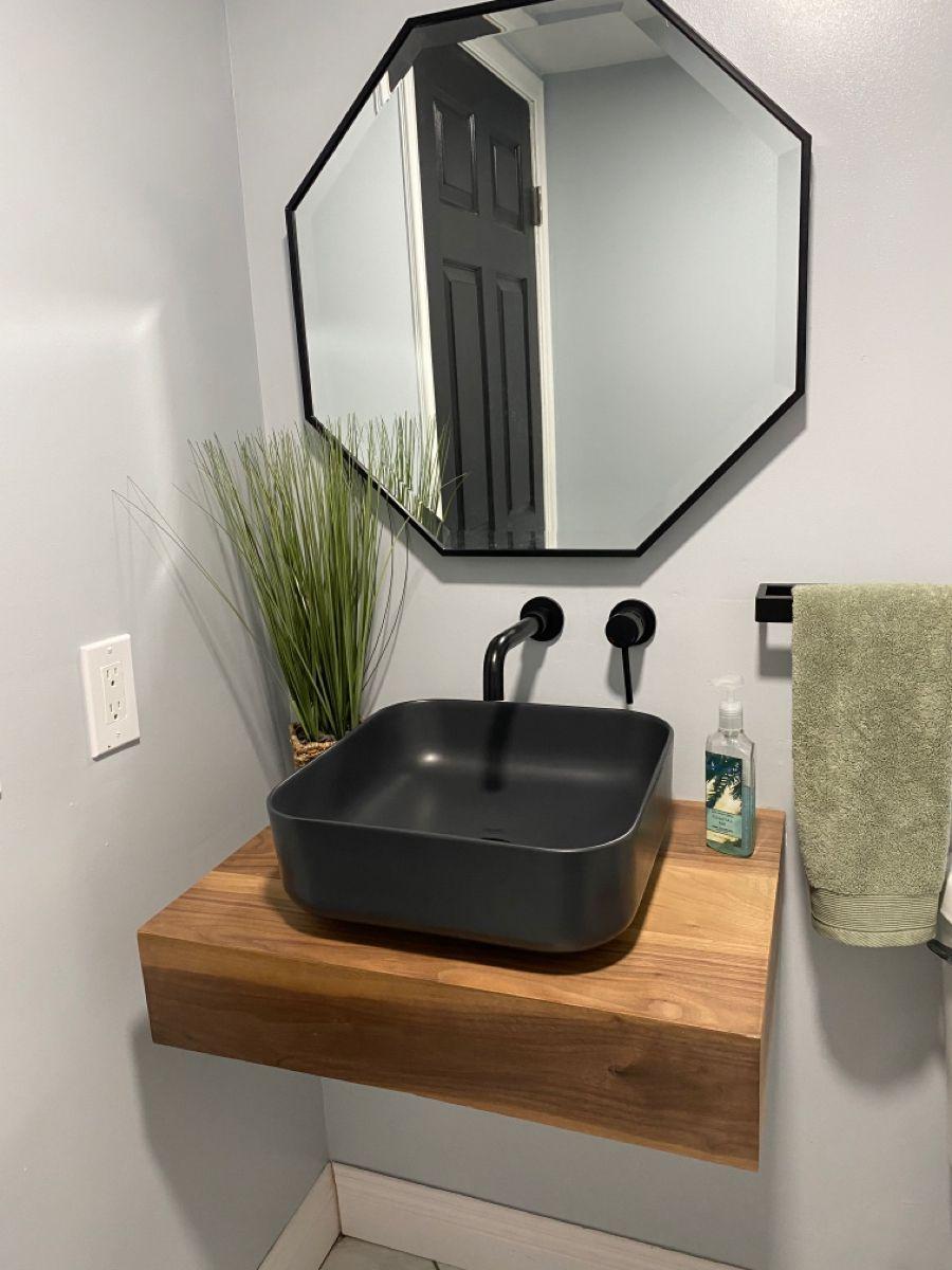 Our Floating Bathroom Shelf With Vessel Bowl Sink Handcrafted Wood Reclaimed Railway Sleepers Fr Bathroom Sink Bowls Diy Bathroom Vanity Vessel Sink Bathroom [ 1080 x 1080 Pixel ]