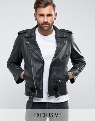 99736d2f09cd Reclaimed Vintage Inspired – Schwarze Bikerjacke aus Leder   Leather ...