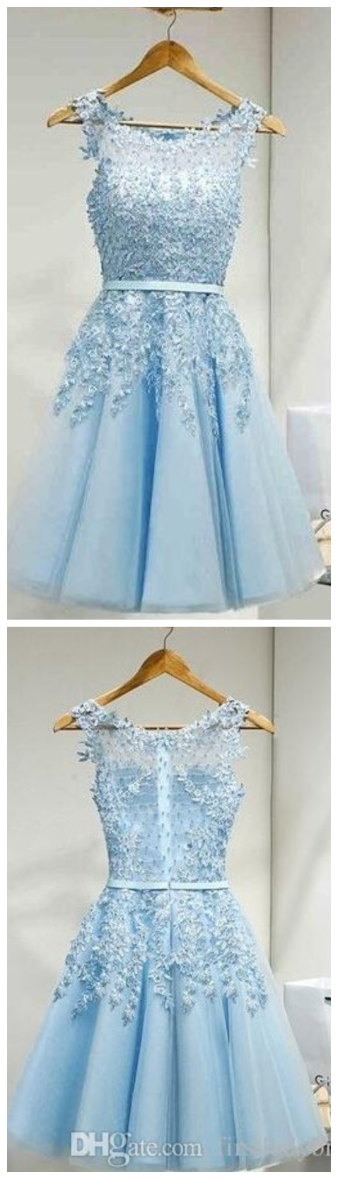 Light sky blue short homecoming party dresses appliques lace real