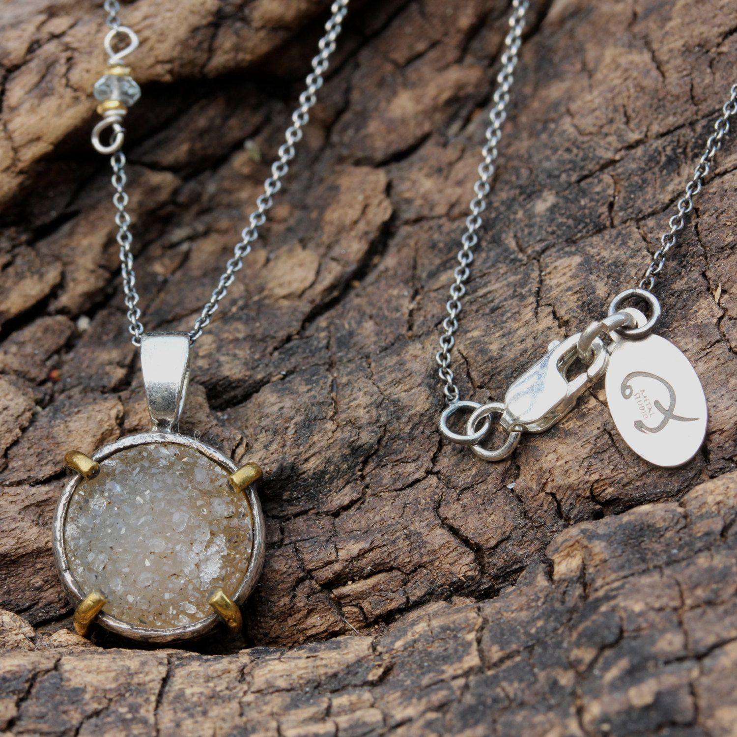 Round druzy pendant necklace with aquamarine side set gemstone and fine link silver chain