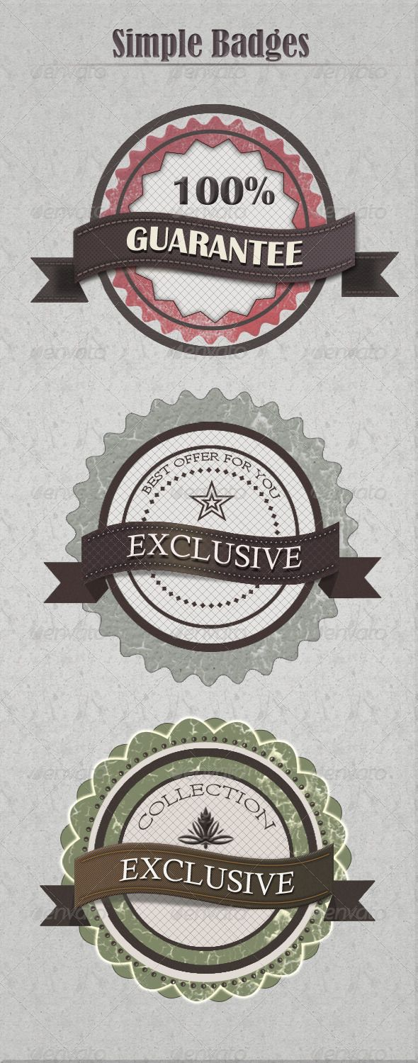 Vintage Badges #GraphicRiver Layered PSD file Full control