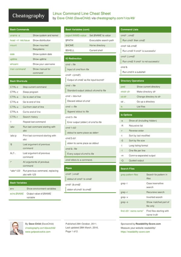 Linux Command Line Cheat Sheet from DaveChild A cheat sheet of - z os unix system programmer resume