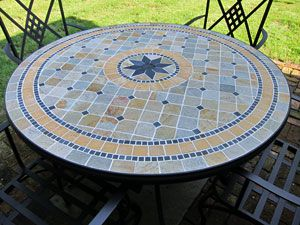Outdoor dining furniture squares and mosaics - Basics mosaic tiles patios ...