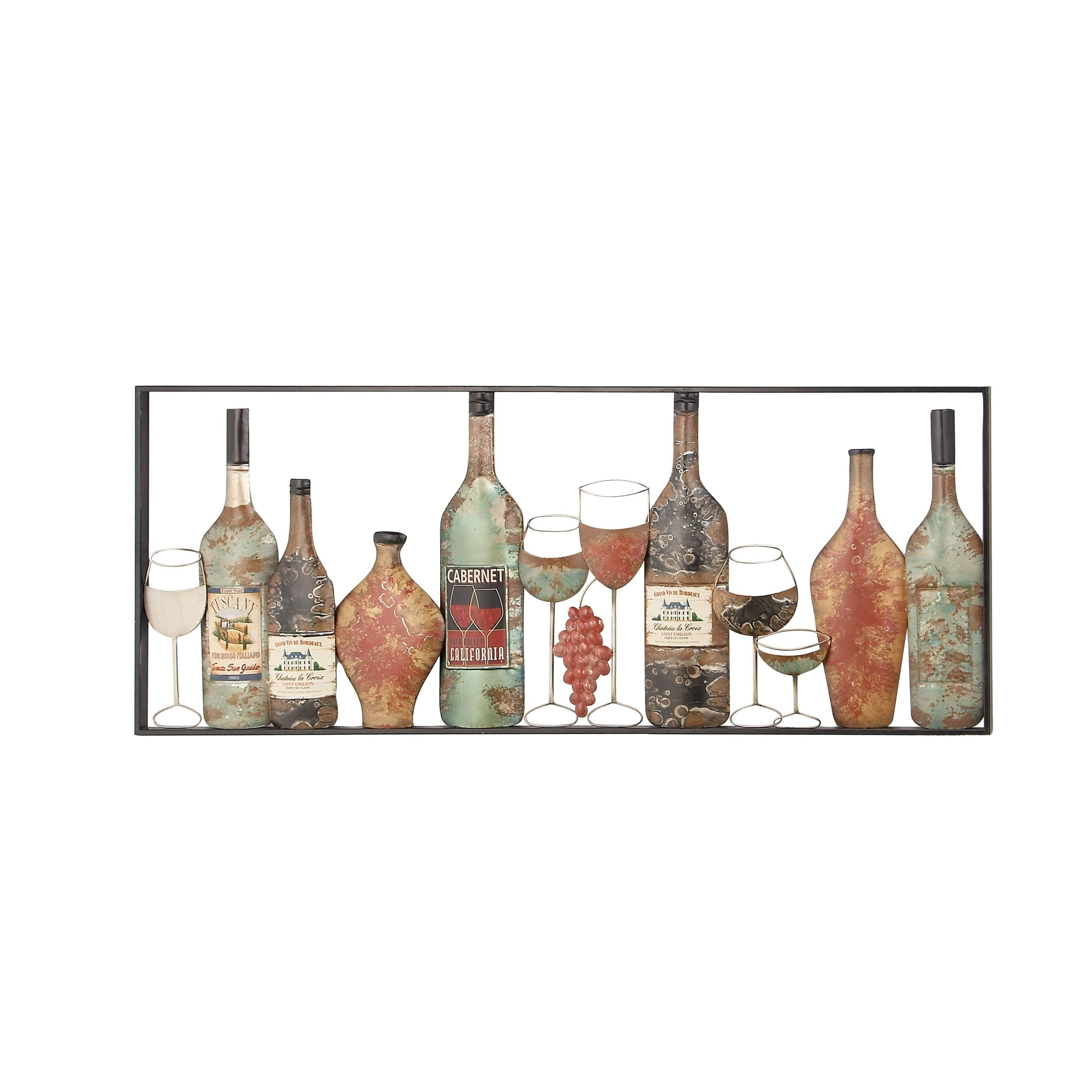 Rustic iron wine red bottles framed wall decor studio