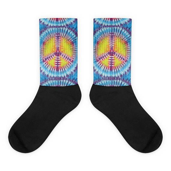 Peace Tie Dye Socks is part of Clothes Hipster Peace - Just one way of expressing your free spirited nature with these Socks • Thick ribbing, which provides a secure fit• Cushioned for maximum comfort • Bold, crisp colors that won't fade• 60% Nylon, 22% Cotton, 18% Spandex • Cold wash with like colors and hang dry• The top of the sock is printed, the bottom portion is solid black