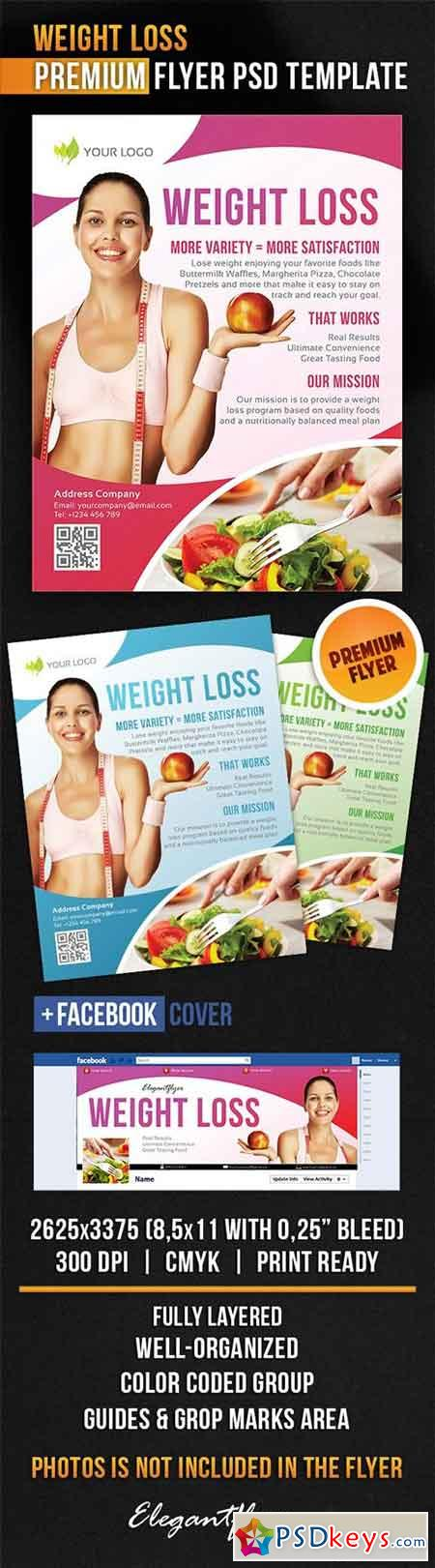 Weight Loss Flyer Psd Template Facebook Cover Ads Pinterest