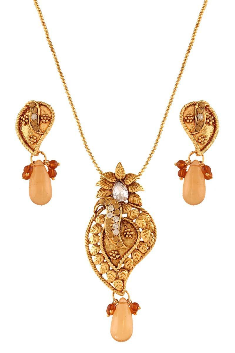 Golden gold plated austrian diamond pendant set products