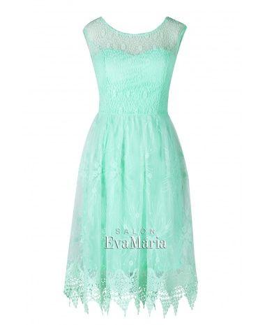 SARAH - krátke tyrkysové čipkované spoločenské šaty  eff428ab5ae