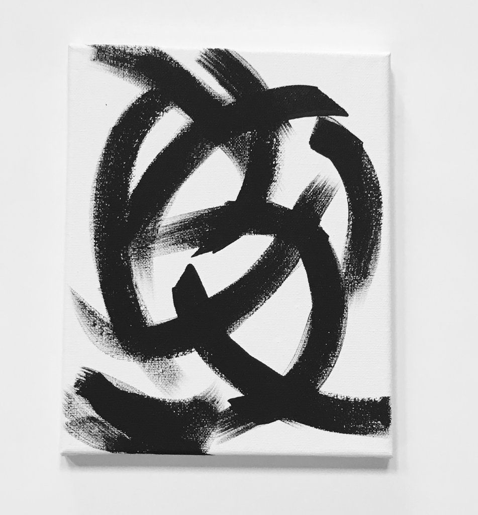 Black and White Brushstroke Abstract Art Painting II (8 x 10)