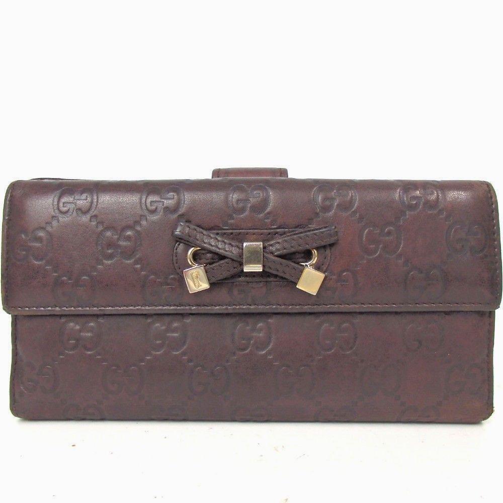 d35100cec4e6bc US Seller Auth Gucci Guccissima Long Wallet Vintage Women Brown G25W20 # GUCCI #purse