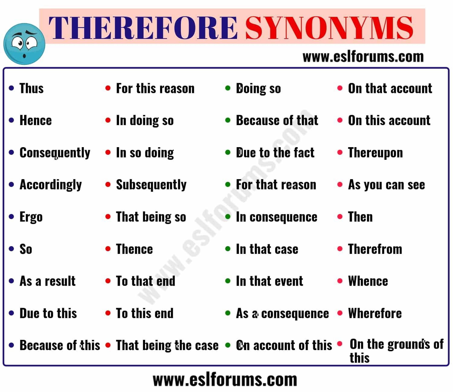 Therefore Synonym 36 Useful Synonyms For Therefore