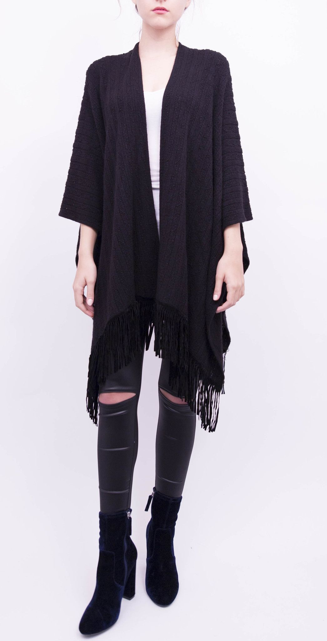 Textured Ruana with Faux Suede Fringe